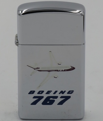 1982 slim Zippo with a graphic of the Boeing 757