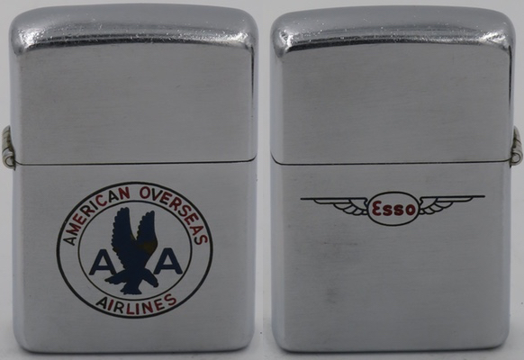 This is a two-sided 1946-47 Zippo commemorating American Discovery Flight for American Overseas Airlines, Flagship Europe, ESSO Europe-US September 1949, belonging to Joe Ryle