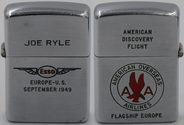 1949-51 two-sided Zippo, American Overseas Airlineswith American Airlines and ESSO with wings logo