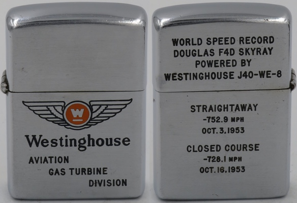 1953 Zippo for Westinghouse Aviation Turbine Division recognizing the World Speed Record of Douglas F4D Skyray