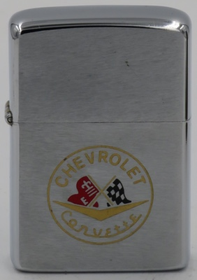 1975 Zippo with racing flags advertising the Chevrolet Corvette