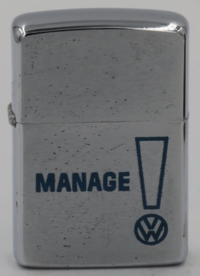 "1966 Zippo advertisingVolkswagen, or  ""The People's Car"".  Its origin traces  back to pre-WWIIGermany when Ferdinand Porsche and Adolf Hitler envisioned an affordable car for everyone"