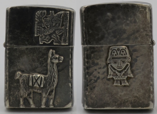 1950's Sterling lighter from Peru with a llama and Viracocha on the front, a small god on the back