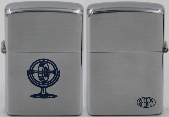 1948-49 two-sided Zippo for Sperry Corporation. In 1908, the American inventor Elmer Ambrose Sperry patented a gyrocompass in the US.and founded the Sperry Gyroscope Corporation in 1910 which became a major  force in aviation and aerospace instrumentation industry