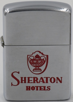 1954-55 Zippo for Sheraton Hotels. The company acquired its first hotel in 1937 and was so successful it became the first hotel chain listed on the New York stock exchange.