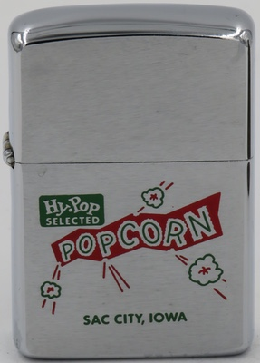 1964 Zippo advertising Hy-Pop Selected Popcorn in Sac City, Iowa