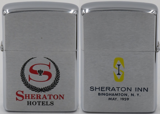 "1959 Zippo for Sheraton Hotels. The reverse side reads ""Sheraton Inn Binghamton NY May, 1959"""