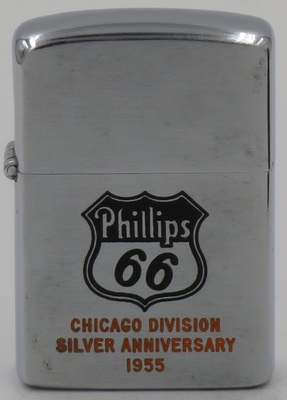 "1955 Zippo with a Phillips 66 logo and ""Chicago Division Silver Anniversary 1955"".  Phillips 66 lubricants have been around since 1927"