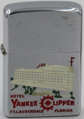 1958 Zippo with a graphic of the Yankee Clipper Hotel in Ft.Lauderdale, Florida