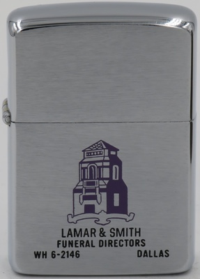 1962 Zippo for  Lamar & Smith Funeral Directors in Dallas
