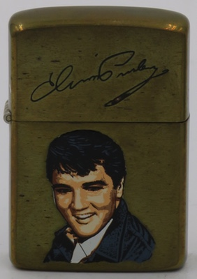 1987 Zippo with face of young Elvis on a brass case.