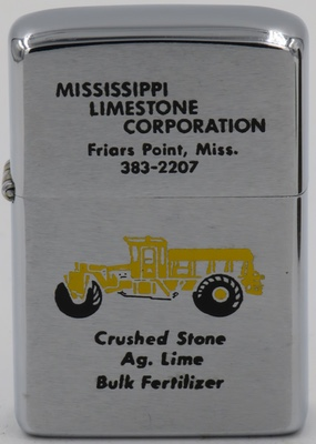 1974 Zippo for Mississippi Limestone Corp Friars Point - with the image of a crusher