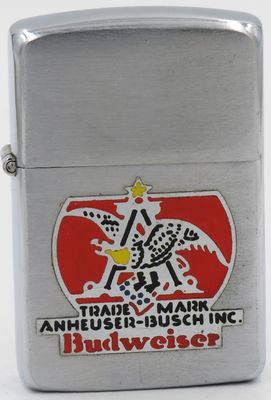 This Zippo is dated 1947 and has a metallique Anheuser-Bush Budweiser logo, unusual for a post World War II Zippo.