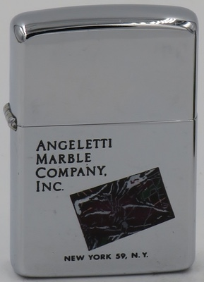 1962 Town & Country Zippo for Angeletti Marble Company Inc. New York 59, N.Y. with a colorful marble tile