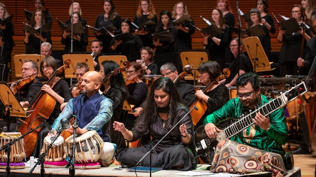 Robin Sukhadia, Saili Oak, and Rajib Karmakar with the LA Master Chorale