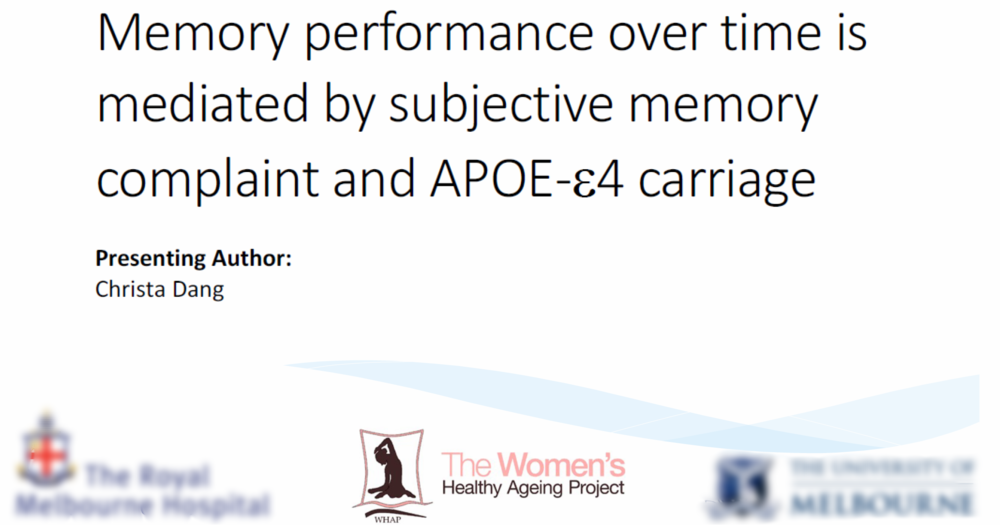 Memory performance over time is mediated by subjective memory complaint and APOE-e4 carriage  - This study hypothesizes that there is an interaction between Subjective memory complaints (SMC), APOE-e4 carriage and memory performance over time.  The results indicated that memory performance over time with SMC is mediated by APOE-e4 carriage: individuals in possession of an APOE-e4 allele with reason to believe that they are experiencing memory decline may be at increased risk of developing AD; however, presence of an APOE-e4 allele alone was not associated with memory decline.Citation: Dang, C., et al. (2017). Memory performance over time is mediated by subjective memory complaint and APOE-e4 carriage. Paper presented at Alzheimer's Association International Conference, London, England, 16-20 July.