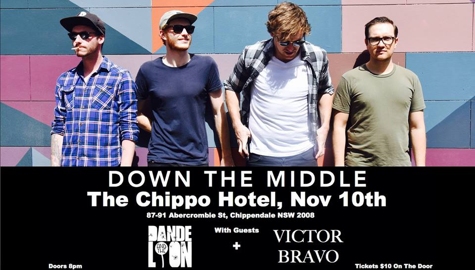 Down The Middle are playing The Chippo Hotel on Friday, Nov 10th. Along with Dande and The Lion and Victor Bravo, they will be bringing you a night of original music. Doors open at 8pm. Tickets $10 on the door.