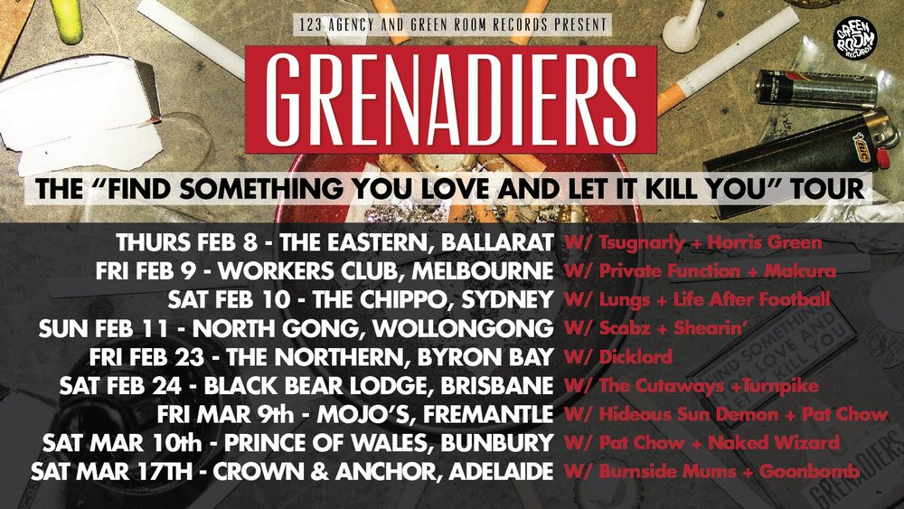 "With  Lungs  and Life After Football (First Show!)  Tix:  http://bit.ly/2hgQx6D   We have a new album. It's called ""Find Something You Love And Let It Kill You"" and it's out now through Green Room Records/MGM. Mostly, it's rock songs about drinking and death.   We'll be playing The Chippo in Sydney to help send this baby on its way- see you there for a schooey."
