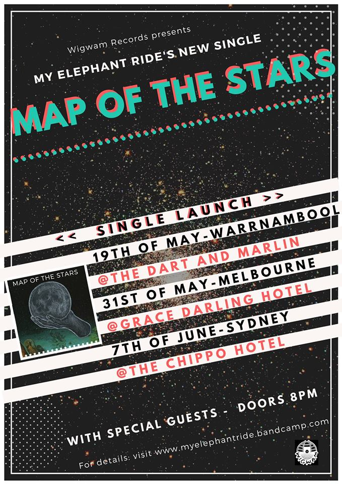 To celebrate new single 'Map of the Stars' My Elephant Ride are playing a limited number of shows in May / June.  Performing a new live set come and hear the first taste of sophomore album 'Beyond the Skin' coming out later this year.   Kyoshi:  https://www.facebook.com/kyoshiband/    Megan and the Vegans:  https://www.facebook.com/meganandthevegans/   VIIN:  https://www.facebook.com/itsviin/    Tix $10 on the door
