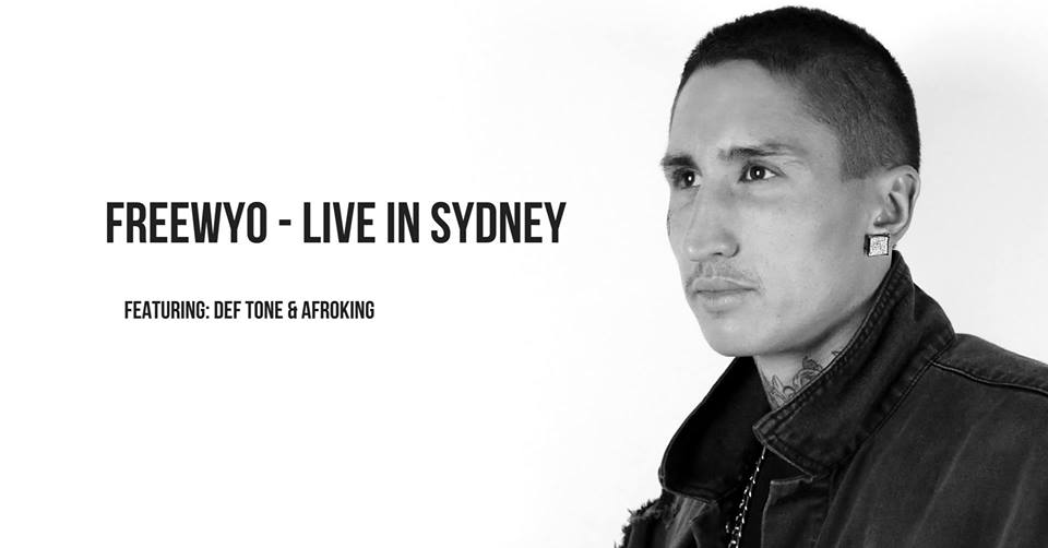 """Freewyo will be performing live at 'The Chippo Hotel' in Sydney city alongside his rapper brothers Def Tone & Afroking.  Performing on sold out tours across the country alongside industry heavy weights such as YG, Joyner Lucas, Kid Ink, Dj Yella of NWA, Sean Kingston, Coolio & more. Freewyo shows his hunger for success with his non stop work ethic, and his unique style of rapping, singing, and cinematic production.  He proudly states that he is motivated by helping his family and his fans and that is the exact reason why he applies his high volume release strategy with his music.  With his growing online following of just under 500 thousand fans internationally. He plans to grow and show not only Australia, but the whole world that no matter where you are in life, if you visualise and believe that you can hustle your way to a better place, you can.  Follow his journey as he graces the stage in Sydney city at """"The Chippo Hotel"""" alongside his rapper brothers Def Tone & Afroking."""