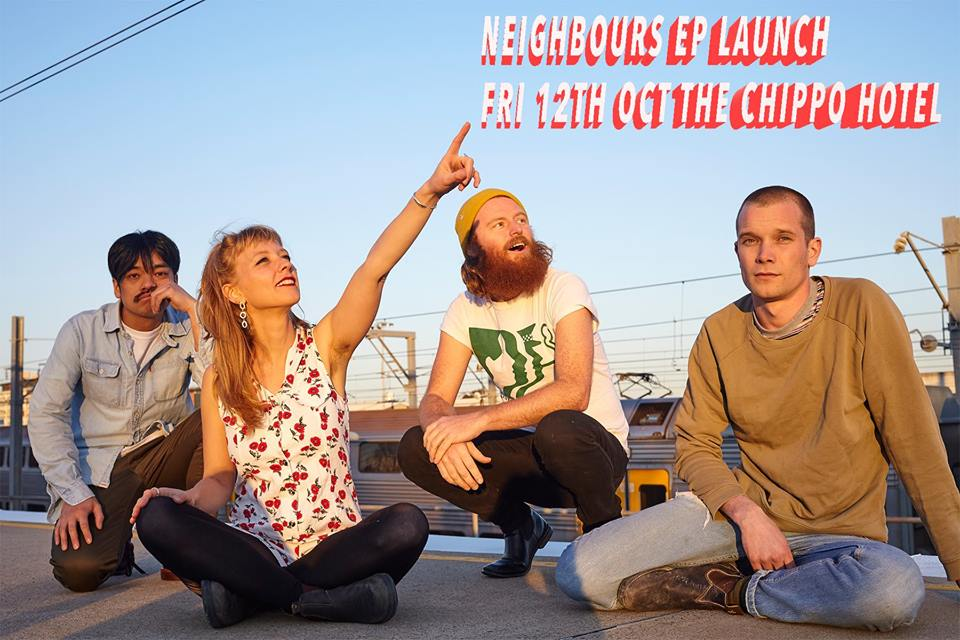 Neighbours was formed in 2016 by Jorja Boon-Kriesel, Hideki Amasaki (when Chimps Attack), Dean Podmore (Gay Paris) and Alexi Grivas. 2017 saw their demos; the punk track Mother and garage love song Cowboy receive wide radio play.  Their latest single 'Bubble' sees Jorja's heady vocals collide with Amasaki's unique guitar riffs, all backed by Dean's billowing bass.  Due out in October their debut EP also named 'Bubble' was recorded and mixed by Simon Berkfinger at Marrickville's Golden Retriever studios.  Since recording, Neighbours have had to say goodbye to founding member Alexi Grivas and hello to Hugh Black (ex West Thebarton) stepping in on the skins.  Neighbours have been described as X-ray Specs with 90's guitar and their their energetic and melodramatic live shows are not to be missed.