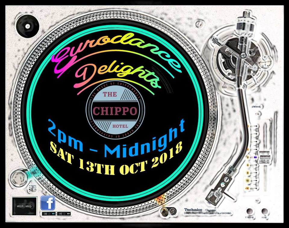 "We can't get enough of that friendly vibe from The Chippo Hotel and all the amazing people that attended our July party. We're ""back again"" for Spring Break! More DJs, More Magic! On the 13th October, 2018. Stay up to date with the best of the 1990s by liking our page:  www.facebook.com/eurodancemagic   2-3pm - Ed 3-4pm - Nick  4-5pm - JC  5-6pm - Fagan  6-7pm - Majestik  7-8pm - Solis  8-9pm - Nick  9-10pm - Ed  10-11pm - Dj Crystal  11-12pm - Ross Fader   🔊 🎵 Special thanks to Adrian for powering up the event with a raging sound system from  www.pixel8pro.com  !! 🔊 🎶   🙌�🙌�🙌�🙌�🙌�🙌�🙌�🙌�🙌�🙌�🙌�🙌�🙌�🙌�🙌�  What can you expect from our parties? >On the 13th October, The Chippo Hotel will be hosting a party that sets itself apart from the generic pub/club night out. It's about the return of the 90s hay day that built its vibe from four simple words; Peace, Love, Unity, and Respect (PLUR). To help describe your evening with us, think:  BEERS 'n' BURGERS – MATES 'n' TECHNO – SUNSHINE 'n' SMILES.  >Eurodance Delights is a party with dedicated DJs who enjoy crate digging for forgotten white labels that gave foundation to today's music scene. You can expect to hear a freshness of 90s Piano House and Eurodance that goes well beyond your commercial classics like Dr. Alban, The Real McCoy, DJ Bobo, La Bouche etc.   >Wearing your hypercolor t-shirt, adidas gazelles, or keppers are not mandatory;) Just be yourself and enjoy the nostalgia:)   >Come in early for a cruisy lunch with your mates, enjoy some raw piano house and gems from the early 90s rave scene in a funky outdoor courtyard styled with its own Graffiti Hall of Fame. Stay into the evening as we progress into electronic synths with bumbling basslines and euphoric riffs, and close out the night with a serious dose of glorious HI NRG that will transport you back to the days of Blackmarket, Equinox/Pump @ The Apia Club, Kinselas, DCMs, 2SER, 99.3FM, and 2RDJ FM📻 etc. This party builds its vibe from anyone wanting to feel nostalgic, or wanting to discover what was so great about the 90s. Meet friendly new people with a passion for good music.  2pm - midnight."
