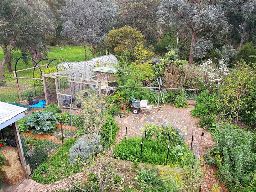 Looking down on the Zone 1 garden from the Paris End