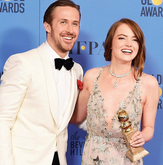 Ryan Gosling with Emma Stone at the 2017 Golden Globes awards where they won best actor and actress in a motion picture