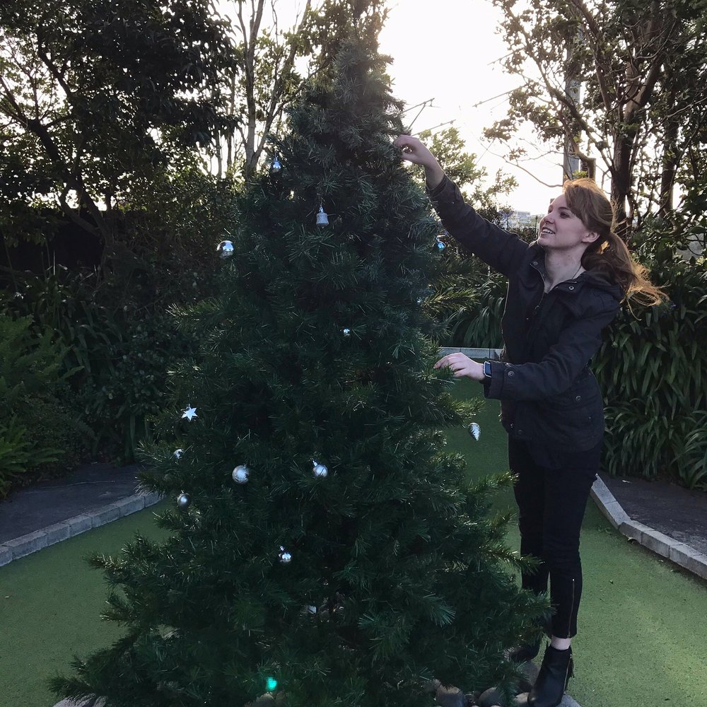 Setting up one of the many (!!) Christmas trees
