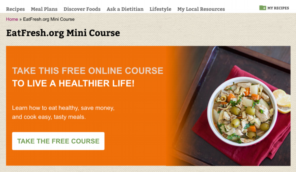Click on the image to be directed to the EatFresh.org mini course page.