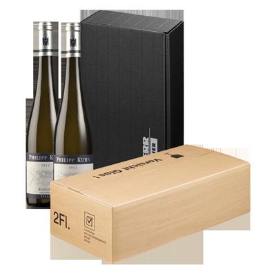 8001: Hier wird Ihr Weinpräsent zunächst in einen hochwertigen Präsentkarton verpackt und danach in einen PTZ-Versandkarton.