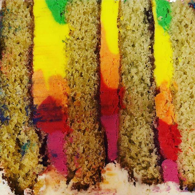 #rainbow #🌈 #buttercream #sliceofcake #cake #instacake #instabake #munchpops