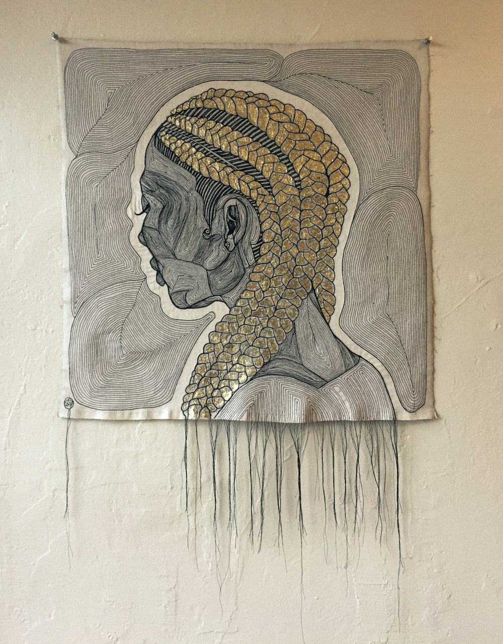 YOUR PRIME  - COTTON THREAD, RAW DENIM, GOLD LEAF, ACRYLIC