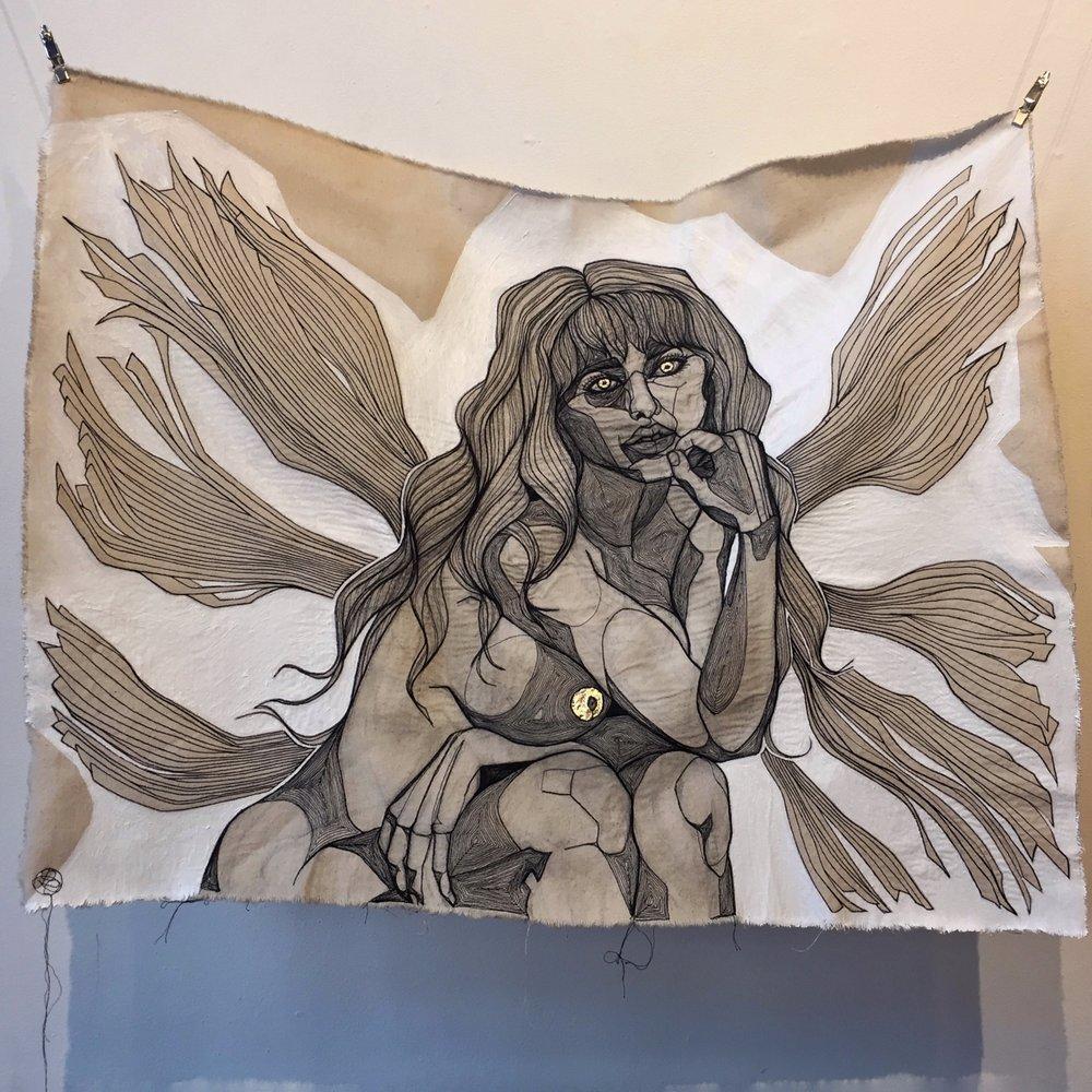 UNTITLED  - COTTON THREAD, DENIM, 22K GOLD LEAF, ACRYLIC 88 x 66 cm