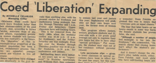 An excerpt from my mom's college newspaper explaining the increased freedom given to female students in the late 1960s and early 1970s.