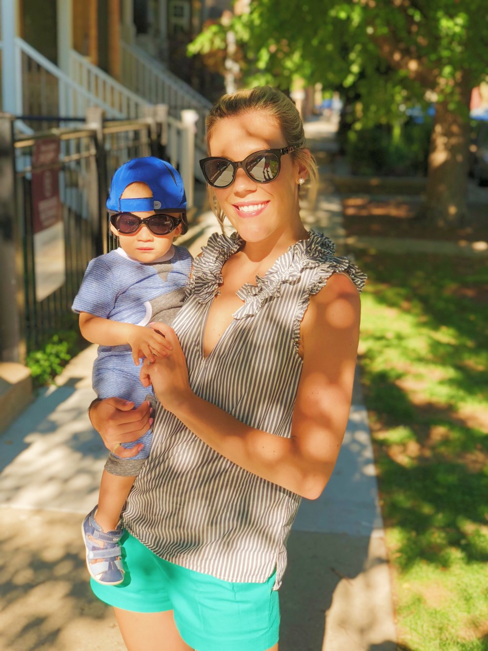 My shorts and top, JCrew (old); Sunglasses, Chanel || Grayson's Romper from Mac & Mia,   Mikimiette  ; Hat & Shades, BuyBuyBaby