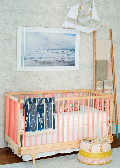 Seascape in Winter in a gorgeous nursery in the home of kid's photographer, Sarah Hebenstreit of Modern Kids in San Francisco