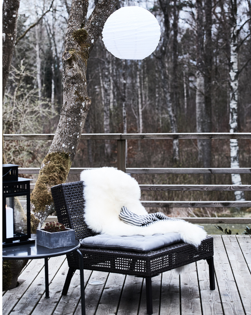 Cosy winter garden scene, birch forest Ikea