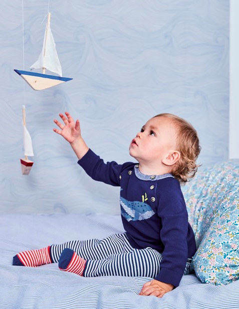 Baby in Boden clothes and Seascape wallpaper