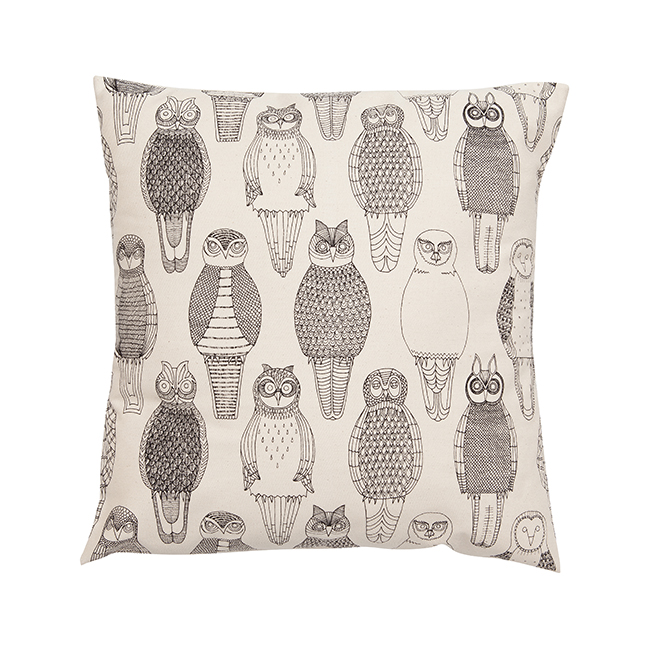 Owls of the British Isles cushion cover