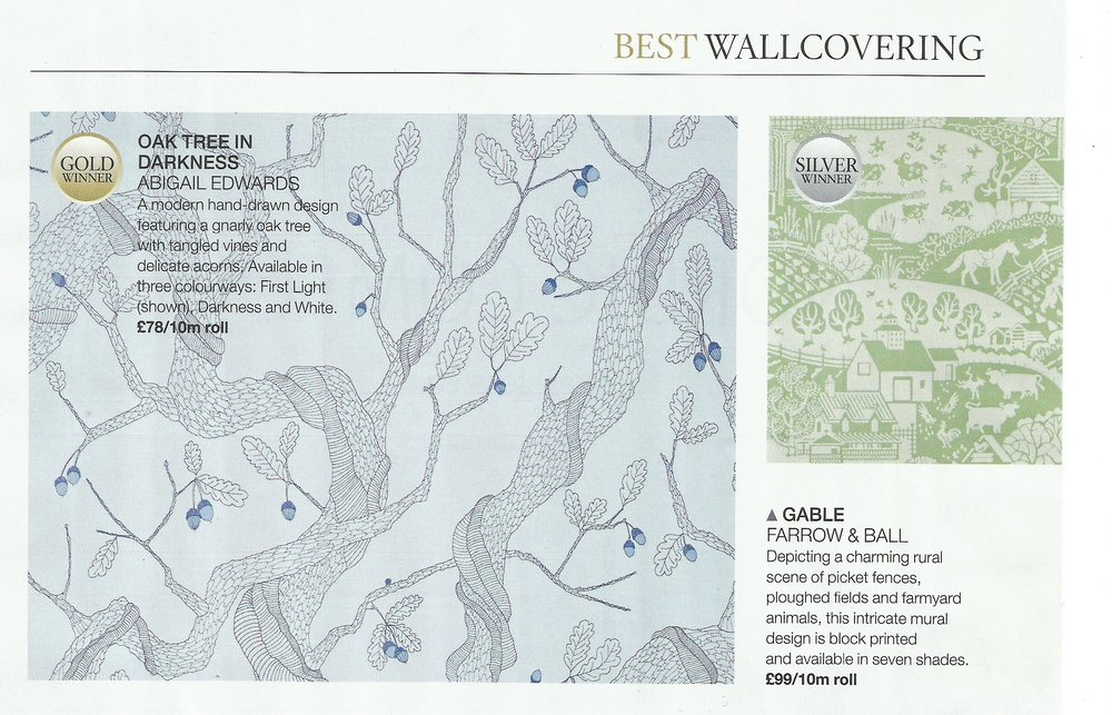 Oak Tree wallpaper wins gold at House Beautiful Awards