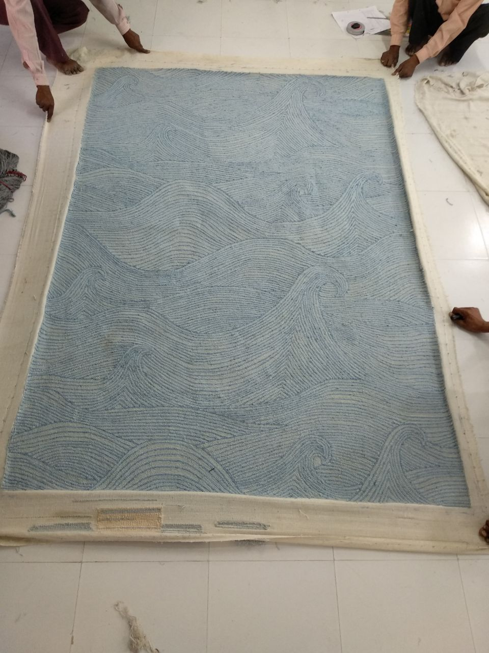 Seascape in Summer rug being made