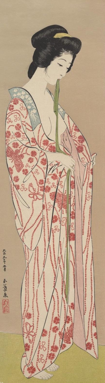 Femme en sous-kimono long  | Hashiguchi Goyo [1920]