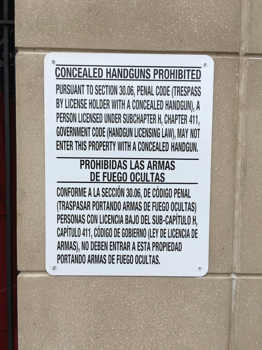 Concealed Weapon Signage at Gerald Ford Stadium, SMU