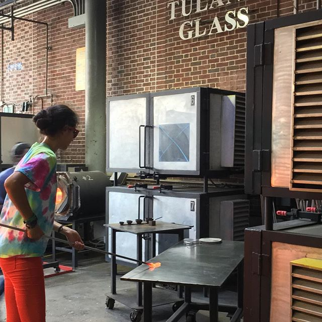 #real artists (Freshmen!) at work #glassblowing @Tulane