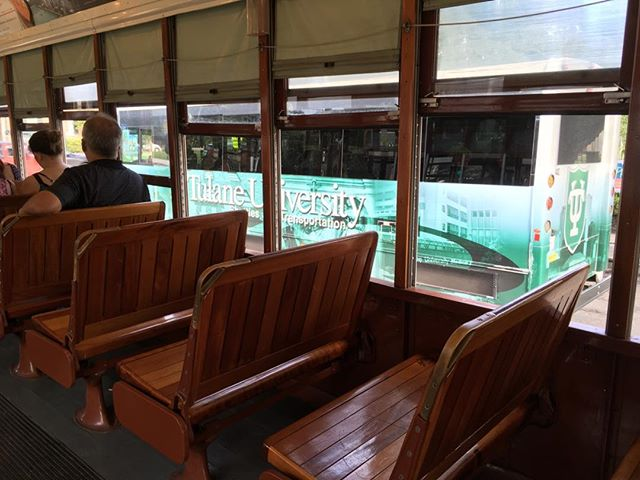 #collegetour day 2 #Tulane shuttle as seen from St Charles trolley. #masstransit in #thebigeasy