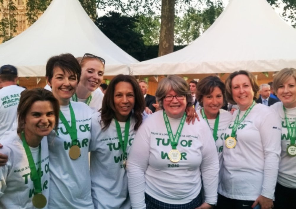 Jo and parliamentary friends at the 2016 Macmillan House of Commons vs House of Lords Tug of War, her last public engagement.