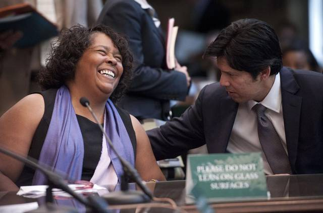 """ARE YOU KIDDING? HE'LL NEVER WIN!"" November 7, 2016, 6:30 PM, (EST): California SEIU chief YVONNE WALKER enjoys  a hearty chuckle"