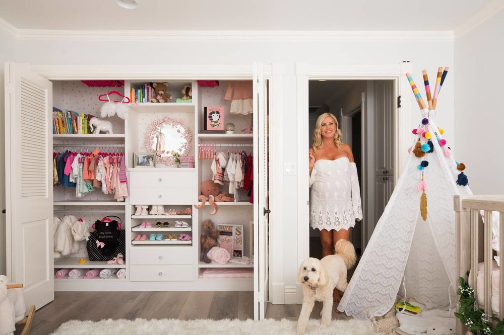 "Stefanie Termini beside the reach-in closet designed for her soon-to-be baby girl. PHOTO: ROBERT BENSON FOR THE WALL STREET JOURNAL  ""At least half of what my clients are thinking about is 'How good will this look?' and 'When I get it up on the internet, how many likes will I get?"" says [closet advisor] Ms. Antonelli. You just did: so let's see."