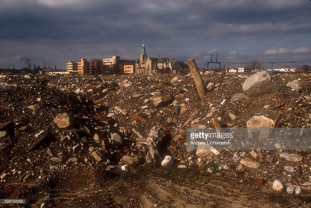 """The remains of Father Panik village, one of the most famous drug spots in the Northeastern United States. The housing project was torn down and its residents relocated in an attempt to stop drug traffic. In the mid-1990s"""